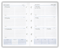 six ring mini looseleaf calendar refill