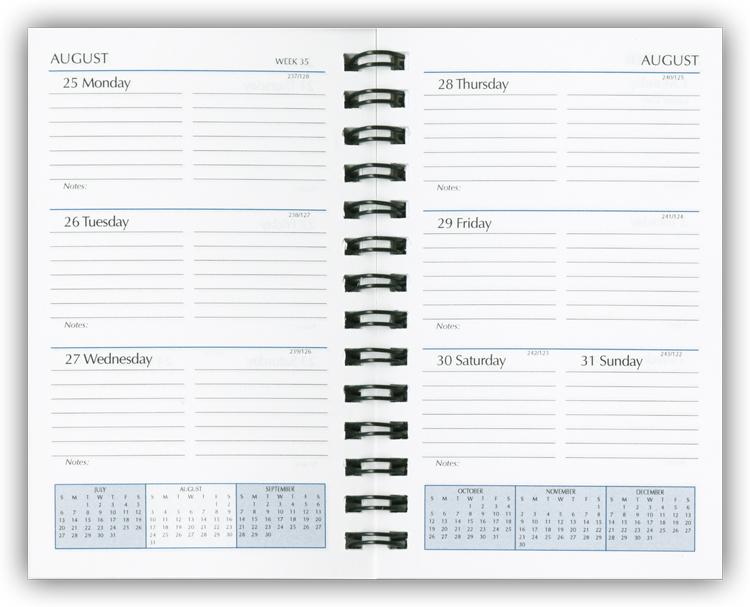 Calendar Planner Refill Pages : Wire bound planner refills spiral