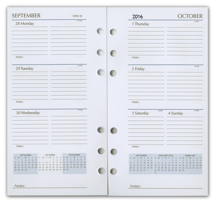 4x6 weekly planner refill pages