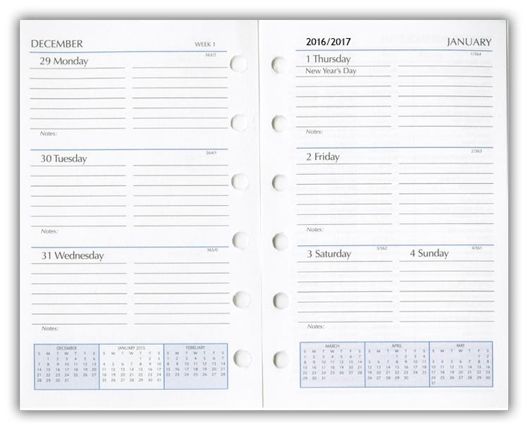 Daily Calendar Refill 2017 Printable Editable Blank Calendar 2017 – Printable Loose Leaf