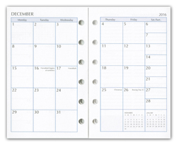 six ring monthly calendar insert pages