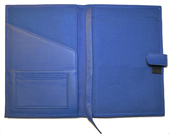 Blue leather desk calendar inside