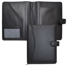 black bonded leather organizer cover with tab closure